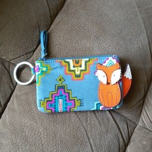 Vera Bradley ID case with key ring and fox detail